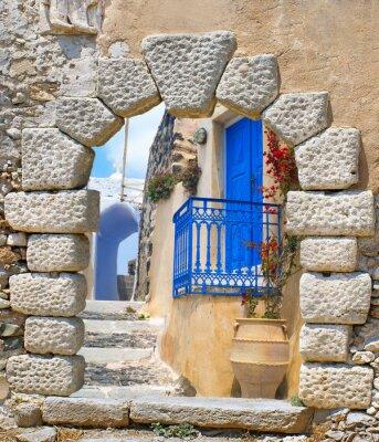 Adesivo Arquitectura tradicional da vila de Oia no console de Santorini, Gre