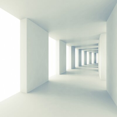 Adesivo Arquitetura abstrata 3d fundo, corredor vazio branco