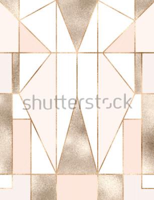 Adesivo Art deco fundo com formas geométricas de glitter dourados, triângulos, retângulos, linhas, quadrados.