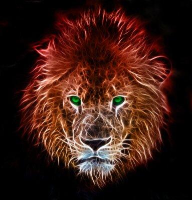 Adesivo Arte digital da fantasia do fractal de um leão em um fundo isolado