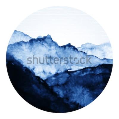 Adesivo Arte tradicional de tinta asiática com montanhas. Vetor arte ilustração