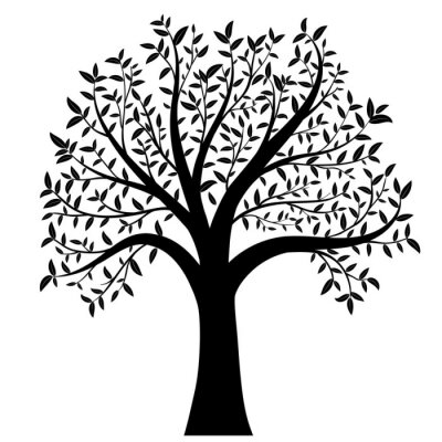 Adesivo Árvore com folhas vetor