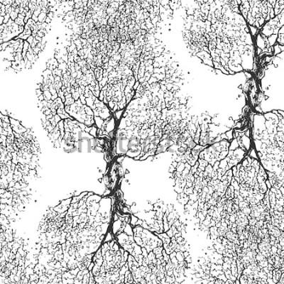 Adesivo Árvore de galhos bonitos sem folhas. Textura sem emenda Padrão repetido. Árvore de outono Bom plano de fundo original para o seu blog.