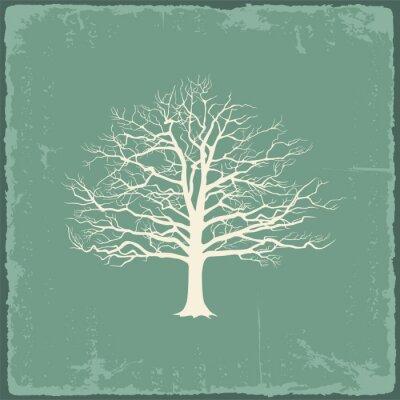 Adesivo Árvore nua velho no papel do vintage. Ilustração do vetor