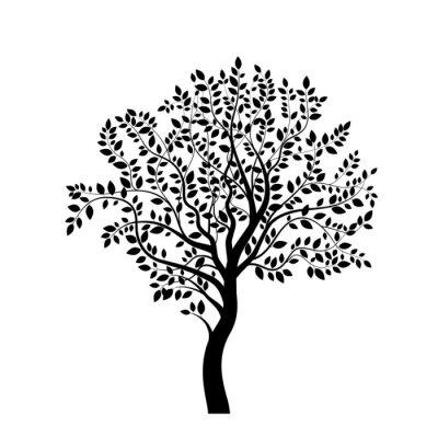 Adesivo Árvore silhueta preta isolada no branco