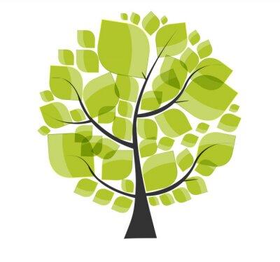 Adesivo Árvore verde bonita em um fundo branco ilustração vetorial.