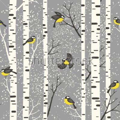 Adesivo Árvores e árvores de vidro nevado no fundo cinza. Padrão de vetor sem alteração. Perfeito para tecido, papel de parede, papel de embrulho ou design de cartão postal.