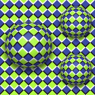 Adesivo As bolas rolam para baixo. Teste padrão sem emenda do vetor abstrato com ilusão óptica do movimento.