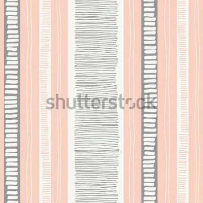 Adesivo As linhas e as listras orgânicas textured lunáticas desenhados à mão vector o teste padrão sem emenda. Geométrico abstrato fresco. Rabiscos.