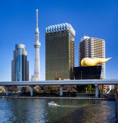 Adesivo Asakusa, em Tóquio Skyline mit und Skytree Asahi Gebäude