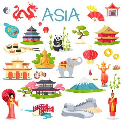 Adesivo Ásia, cobrança, simbólico, elementos, branca