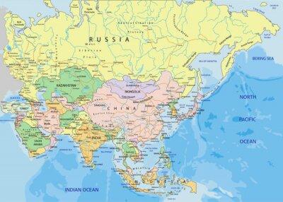 Adesivo Ásia - mapa político editável altamente detalhado.