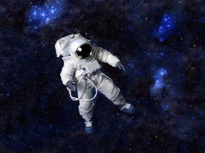 Adesivo Astronauta flutuando no espaço escuro.
