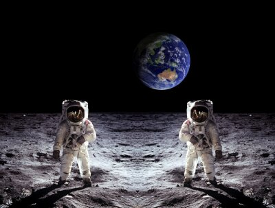 Adesivo Astronauts Moon Landing Earth
