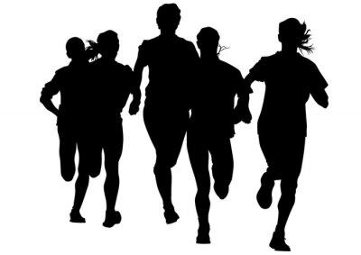 Adesivo Atletas da mulher na corrida em execução no fundo branco