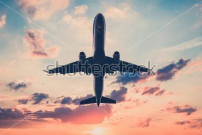Adesivo avião no céu do sol - aviões, jato no fundo do céu cênico