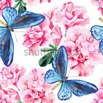 Adesivo Azálea cor-de-rosa e borboletas azuis. Sem costura, pintados à mão, padrão de aquarela. Fundo do vetor