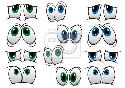 Azul E Desenhos Animados Olhos Verdes Adesivos Para A Parede Palpebra Sobrancelha Visao Myloview Com Br