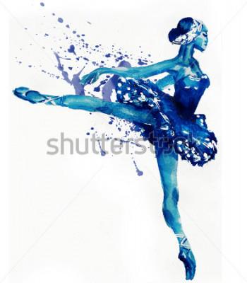 Adesivo Bailarina dançando em azul. Ilustração de Aquarela
