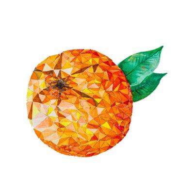 Adesivo Baixo poli aquarela laranja
