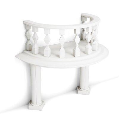 Adesivo Balcão decorativo com as colunas isoladas no fundo branco. Rendição 3d.