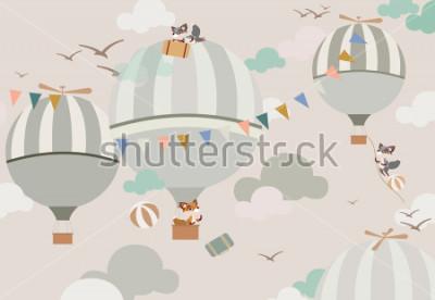 Adesivo balões no céu para as raposas em toneladas suaves