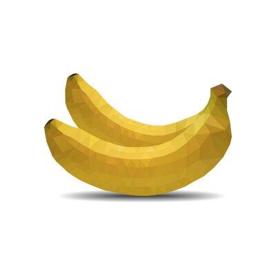 Adesivo Banana, polígono, ligado, branca, fundo, isolado, vetorial, Ilustração, eps, 10