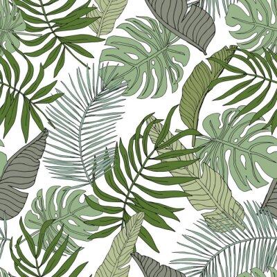 Adesivo Banana verde, monstera, folhas de palmeira com fundo branco. Padrão sem emenda de vetor. Ilustração de folhagem de floresta tropical. Vegetação de plantas exóticas. Verão praia design floral. Gráfico