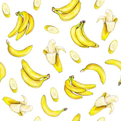 Adesivo Bananas on white background. Seamless pattern. Watercolor illustration. Tropical fruit. Handwork