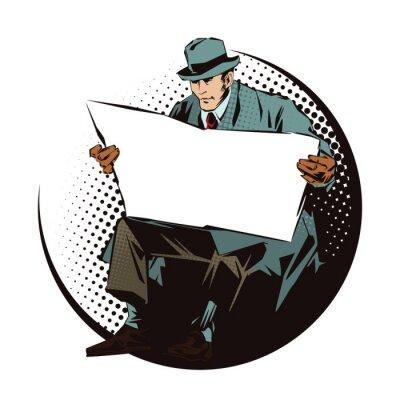 Adesivo Banco de ilustração. Povos no pop art retro do estilo e na propaganda do vintage.