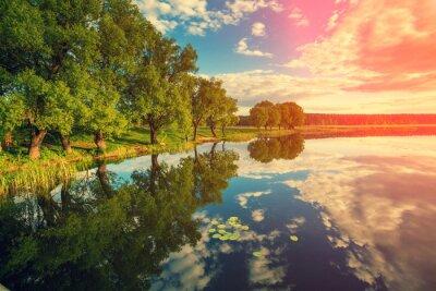 Adesivo Banco de rio com árvores ao pôr do sol