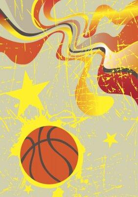 Adesivo Bandeira vertical abstrata com estrelas amarelas de basquete