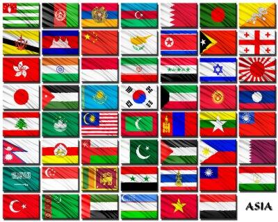 Adesivo Bandeiras de países asiáticos em ordem alfabética