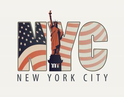 Adesivo Banner de vetor com as letras NYC com a imagem da bandeira americana e a estátua da liberdade em fundo claro