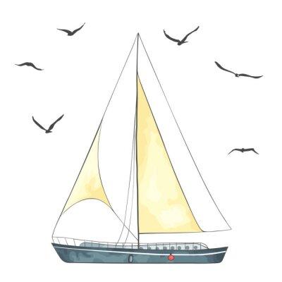 Adesivo Barco com velas e gaivotas feitas no vetor