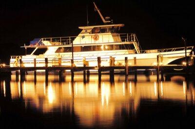 Adesivo Barco na Noite / Barco e reflexão em Jupiter, Flórida