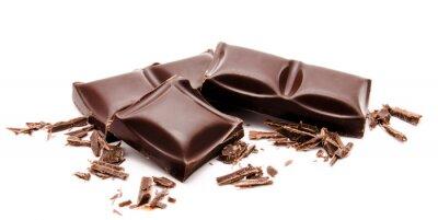 Adesivo Barras de chocolate amargo acumula com migalhas isoladas em um branco
