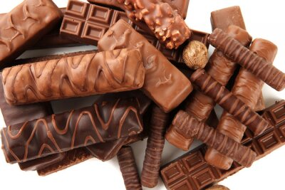 Adesivo Barras de chocolate deliciosos com nozes fechar-se