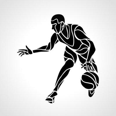Adesivo Basquetebol, jogador, abstratos, silueta