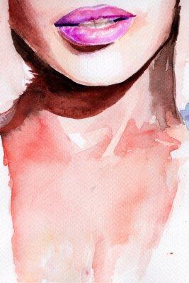 Adesivo batom roxo. lábios aquarela
