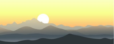 Adesivo Beautiful sunset in the mountains. Horizontal vector landscape.