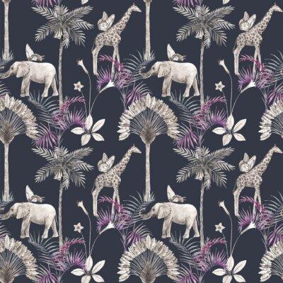 Adesivo Beautiful vector african safari animal tropical seamless pattern. Trendy style. Print with elephants and giraffe. Dark background,