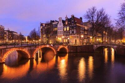 Adesivo Bela, vista, Amsterdão, canais, ponte, típico, holandês