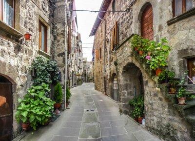 Adesivo Bela vista de antigas casas tradicionais e beco idílico na cidade histórica de Vitorchiano, Viterbo, Lácio, Itália