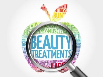 Adesivo Beleza, tratamentos, maçã, palavra, nuvem, magnificar, vidro, saúde, conceito