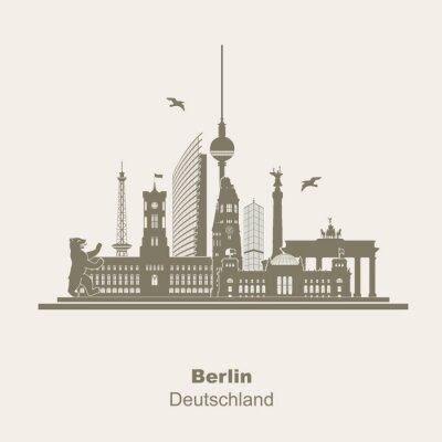 Adesivo Berlim Logotipo da silhueta Umriss Schattenriss Fernseturm Funkturm Berliner Bär, visita turística, Brandenburger Tor Rotes Rathaus Potzdamer Platz Siegessäule Gedächtniskirche Reichstag