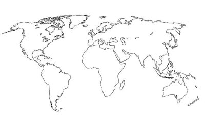 Adesivo Best doodle world map for your design. Hand drawn freehand editable sketch. Planet Earth simple graphic style. Vector line illustration, EPS 10
