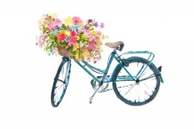 Adesivo Bicicleta azul retro com flor no fundo branco, ilustrador da aguarela, arte da bicicleta