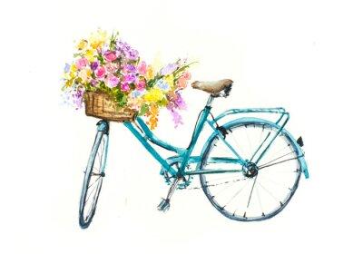 Adesivo Bicicleta azul retro com flores na cesta no isolamento branco, aguarela, mão desenhada no papel
