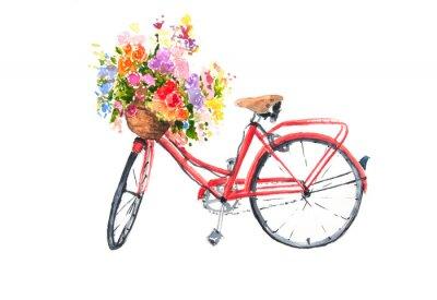 Adesivo Bicicleta retro vermelha com flores coloridas em cesta, ilustradora de aquarela, arte de bicicleta, pode ser usada para decorar em casa